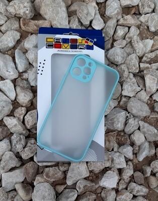 Case  para IPhone12 / Pro, Color Transparente-Borde Azul Claro
