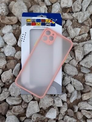Case para IPhone11 Pro Max, Color Mate Transparente/ Borde Rosa