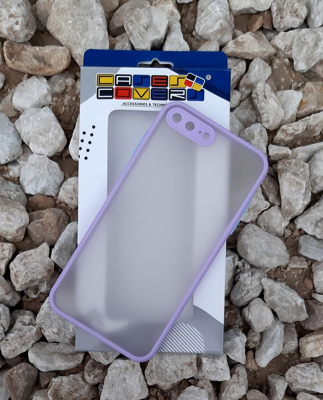 Case para iPhone 7/8 Plus, Color Mate Transparente/ Borde Violetta