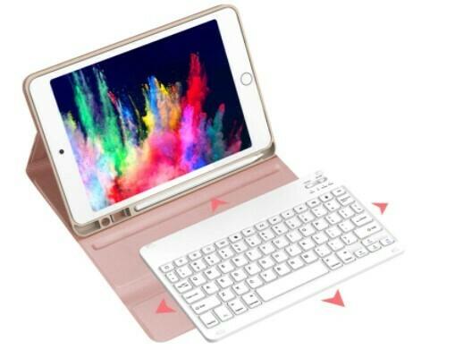 """Estuche Teclado Bluetooth para iPad 7/8 Generación 10.2"""", Color Rosado"""