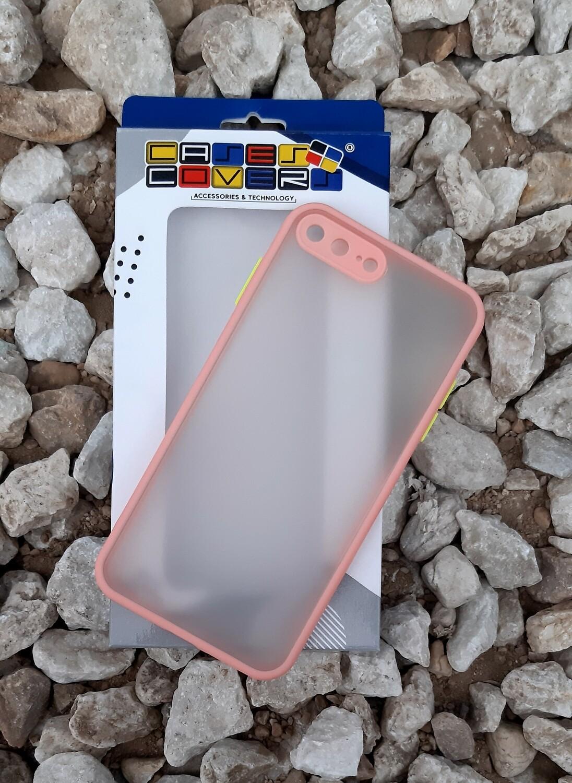 Case para iPhone 7/8 Plus, Color Mate Transparente/ Borde Rosado