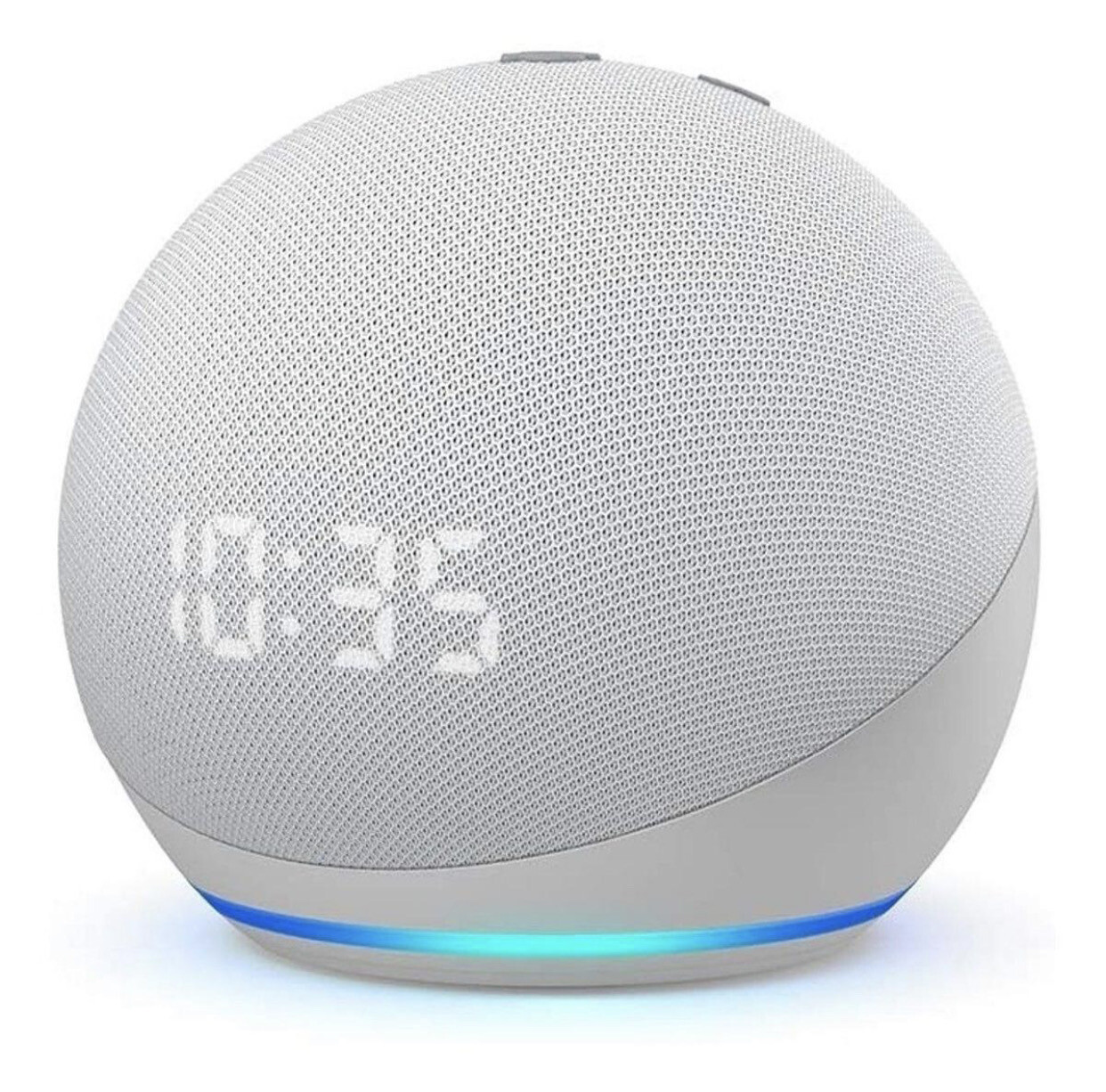 Amazon Echo Dot 4th Gen with clock con asistente virtual Alexa, pantalla integrada glacier white 110V/240V