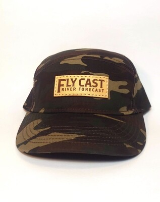 5 Panel Leather Patch Hat - Camo