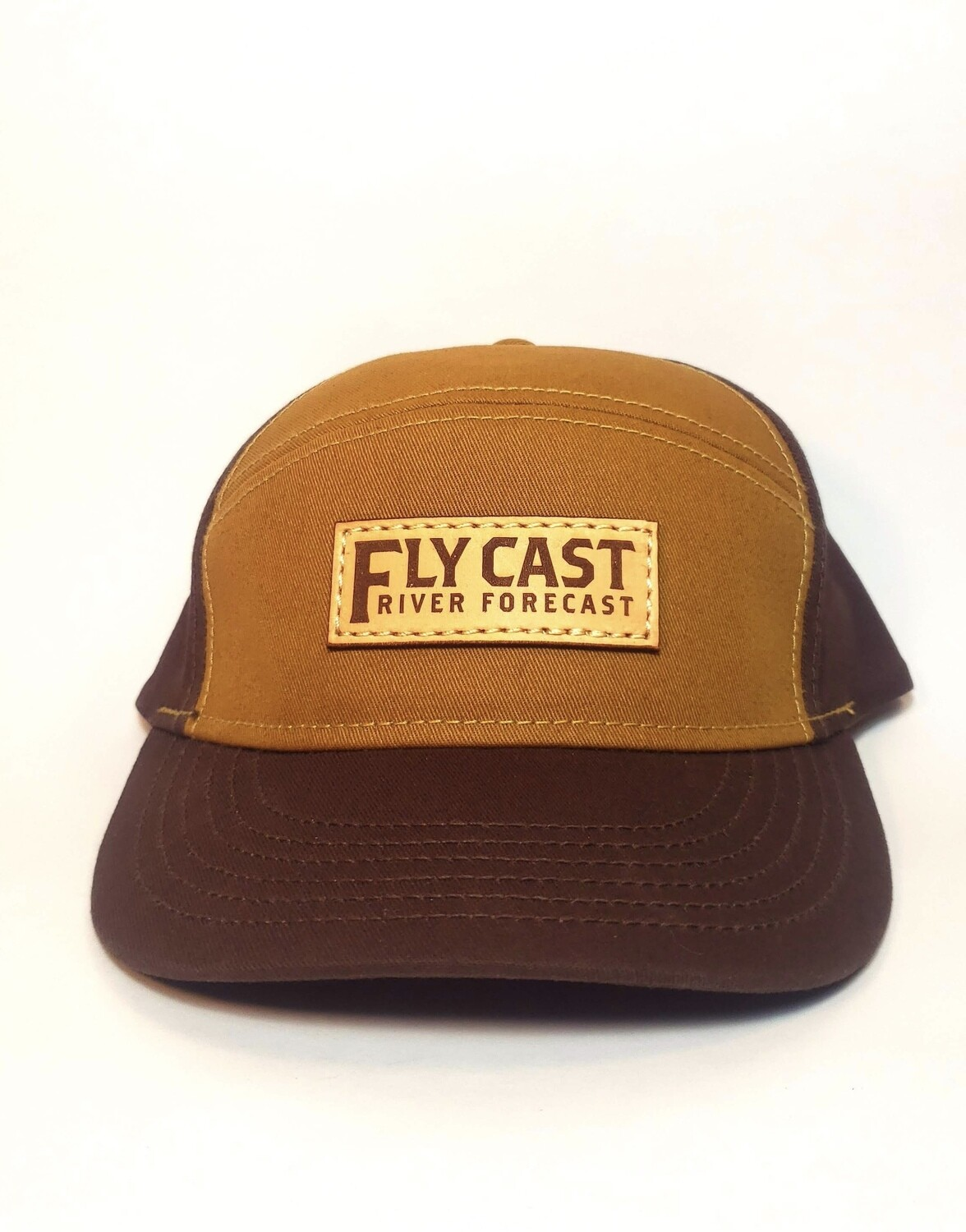 5 Panel Leather Patch Hat - Lumber/Cigar
