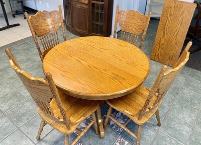 Amish Pressback Oak Chairs and Dining Table