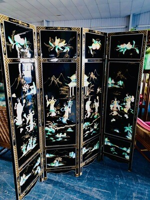Lacquered Asian Inlaid Screen