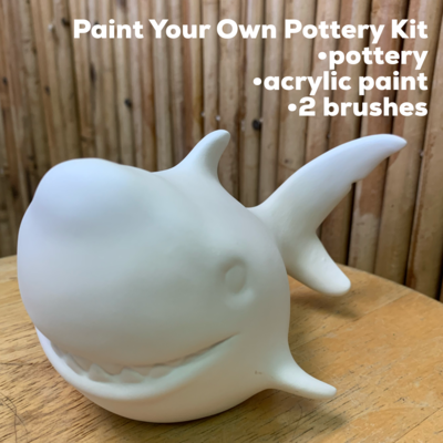 NO FIRE Paint Your Own Pottery Kit -  Ceramic Shark Figurine Acrylic Painting Kit