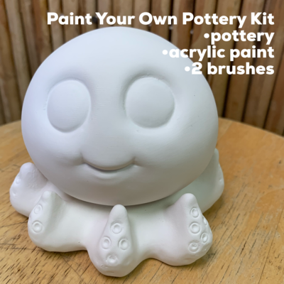 NO FIRE Paint Your Own Pottery Kit -  Ceramic Octopus Figurine Acrylic Painting Kit