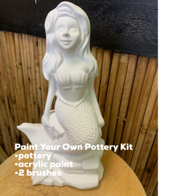 NO FIRE Paint Your Own Pottery Kit -  Ceramic Mermaid Bank Acrylic Painting Kit