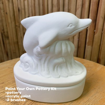 NO FIRE Paint Your Own Pottery Kit -  Ceramic Dolphin Box Acrylic Painting Kit