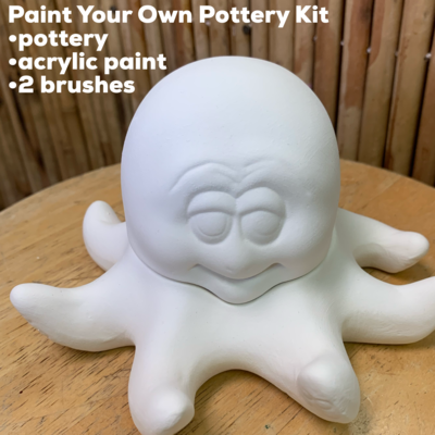 NO FIRE Paint Your Own Pottery Kit -  Ceramic Octopus Box Acrylic Painting Kit