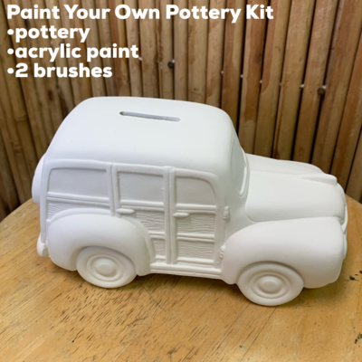 NO FIRE Paint Your Own Pottery Kit -  Ceramic Beach Woody Wagon Bank Acrylic Painting Kit