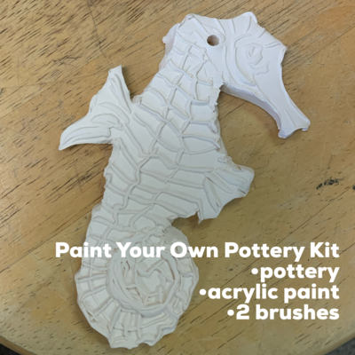 NO FIRE Paint Your Own Pottery Kit -  Ceramic Seahorse Acrylic Painting Kit