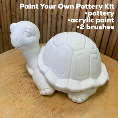 NO FIRE Paint Your Own Pottery Kit -  Ceramic Turtle Box Acrylic Painting Kit