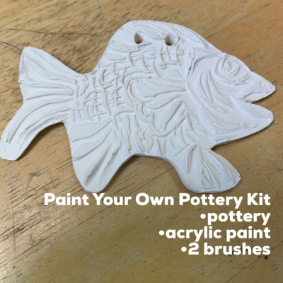 NO FIRE Paint Your Own Pottery Kit -  Ceramic Fish Acrylic Painting Kit