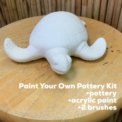NO FIRE Paint Your Own Pottery Kit -  Ceramic Sea Turtle Figurine Acrylic Painting Kit