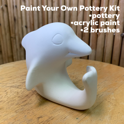 NO FIRE Paint Your Own Pottery Kit -  Ceramic Dolphin Figurine Acrylic Painting Kit
