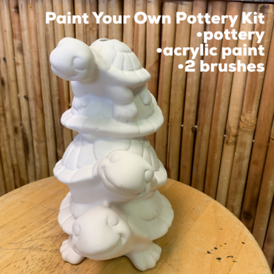 NO FIRE Paint Your Own Pottery Kit -  Ceramic Turtle Stack Bank Acrylic Painting Kit