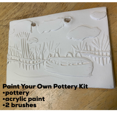 NO FIRE Paint Your Own Pottery Kit -  Ceramic Stone Harbor Beach Tile Acrylic Painting Kit