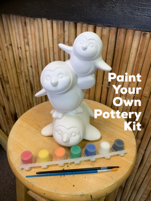 NO FIRE Paint Your Own Pottery Kit -  Ceramic Penguin Stack Bank Acrylic Painting Kit