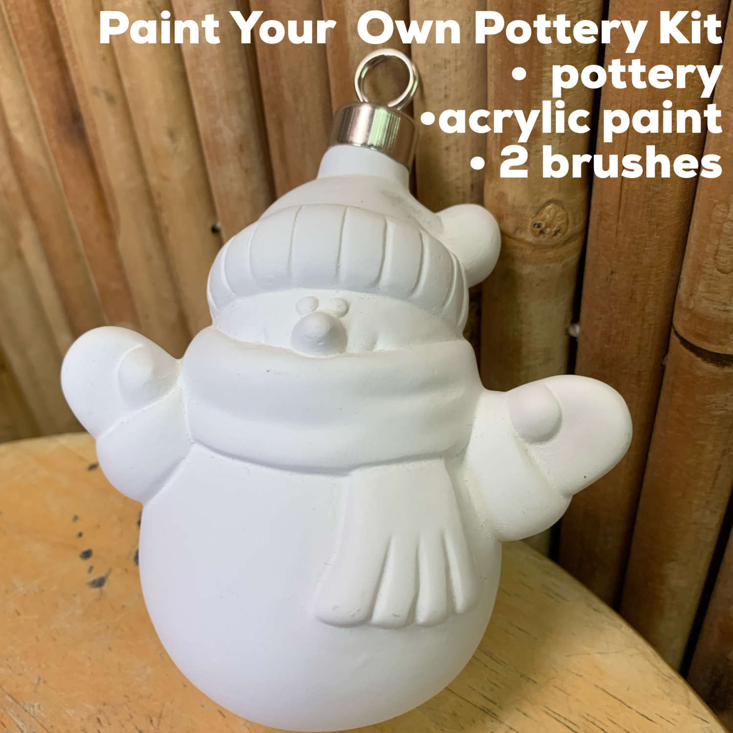 NO FIRE Paint Your Own Pottery Kit -  Ceramic Snowman Christmas Ornament Acrylic Painting Kit