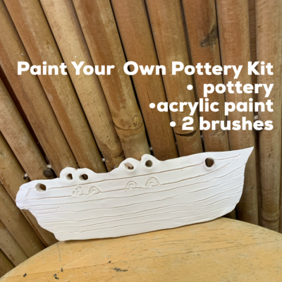 NO FIRE Paint Your Own Pottery Kit -  Ceramic Lifeguard Boat Christmas Ornament Acrylic Painting Kit