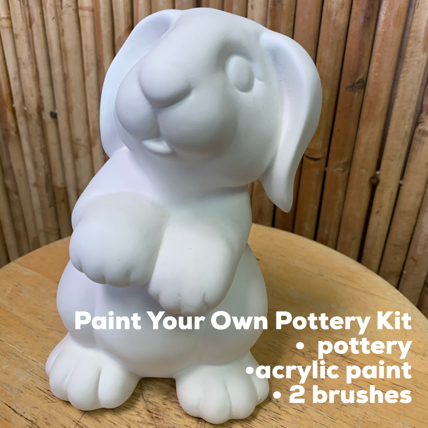 NO FIRE Paint Your Own Pottery Kit -  Ceramic Bunny Rabbit Bank Acrylic Painting Kit