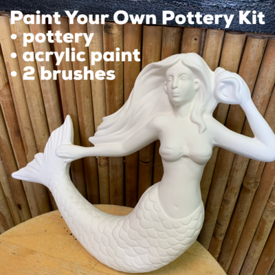 NO FIRE Paint Your Own Pottery Kit -  Ceramic Mermaid Wall Plaque Acrylic Painting Kit