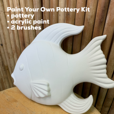 NO FIRE Paint Your Own Pottery Kit -  Ceramic Fish Wall Plaque Acrylic Painting Kit