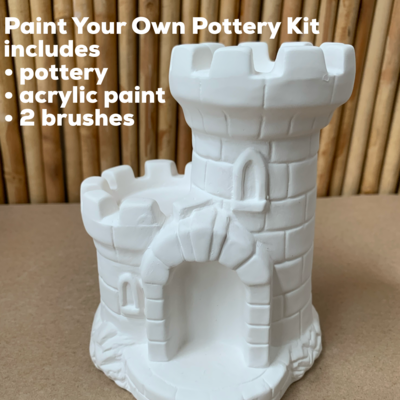 NO FIRE Paint Your Own Pottery Kit -  Ceramic Sand Castle Bank Acrylic Painting Kit