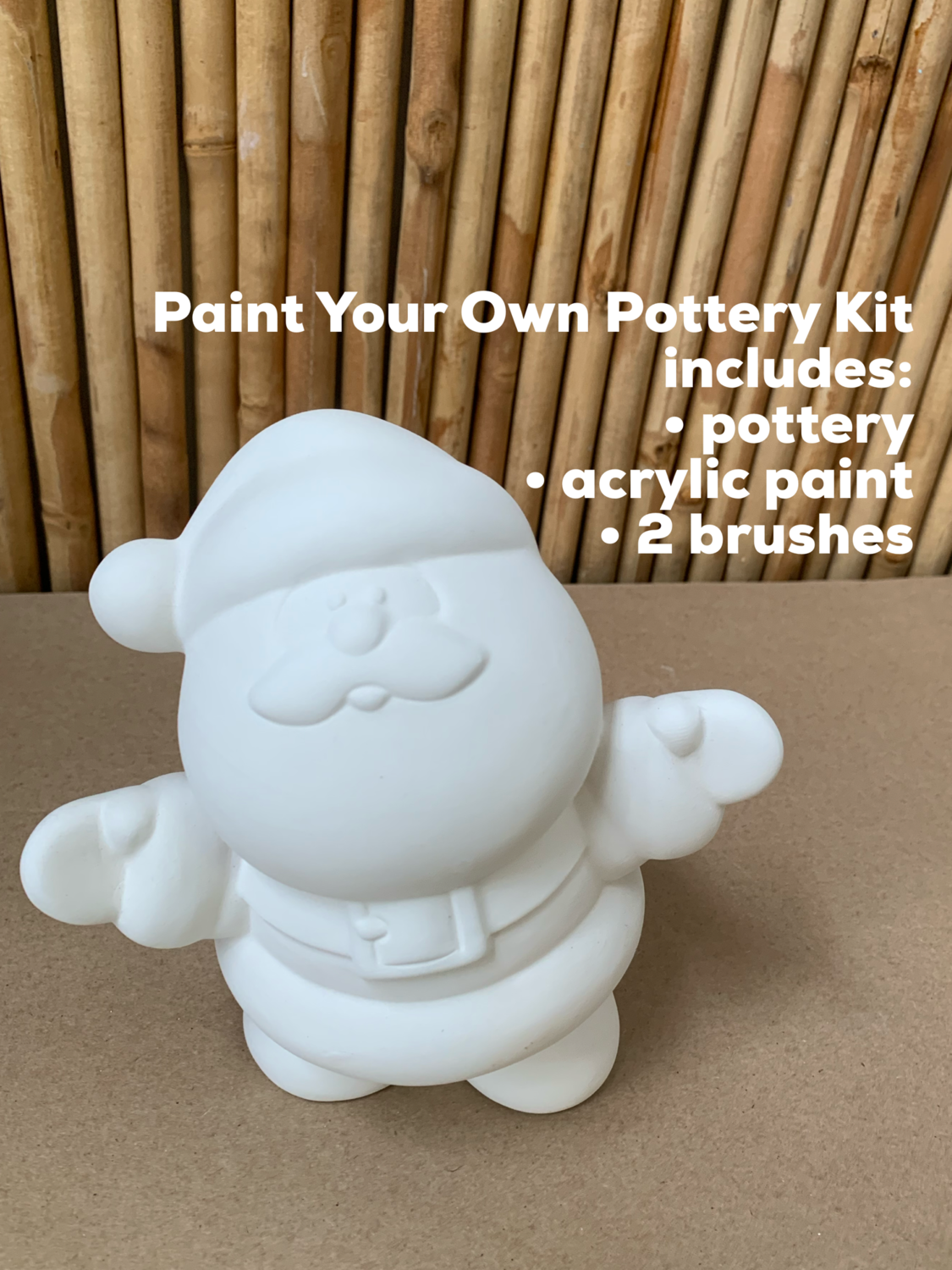 NO FIRE Paint Your Own Pottery Kit -  Ceramic Medium Santa Figurine Acrylic Painting Kit