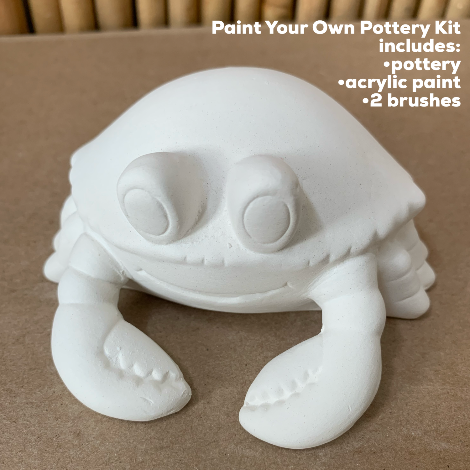 NO FIRE Paint Your Own Pottery Kit -  Ceramic Crab Acrylic Painting Kit