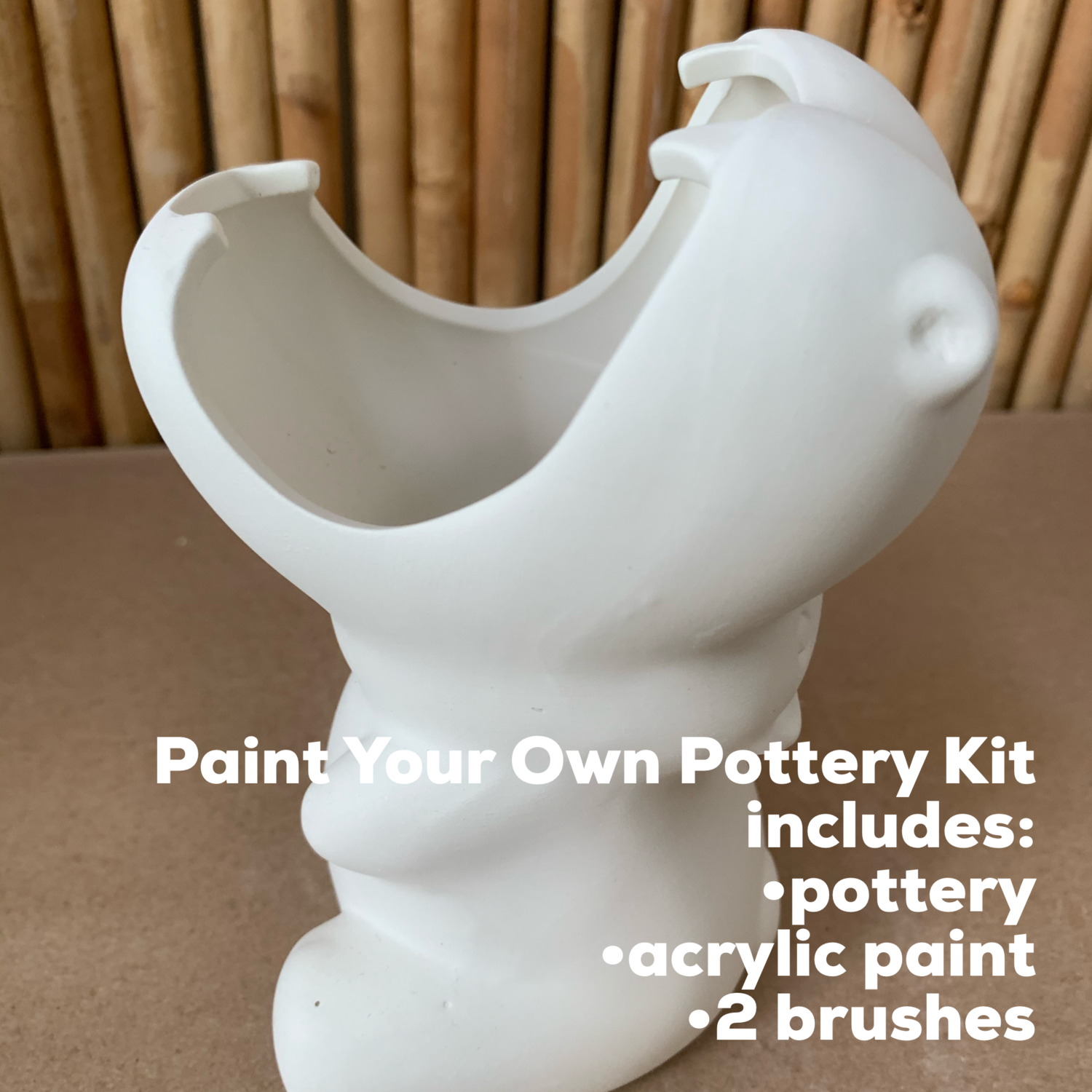 NO FIRE Paint Your Own Pottery Kit -  Ceramic Hippo Pencil Holder Acrylic Painting Kit