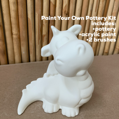 NO FIRE Paint Your Own Pottery Kit -  Ceramic Dragon Figurine Acrylic Painting Kit