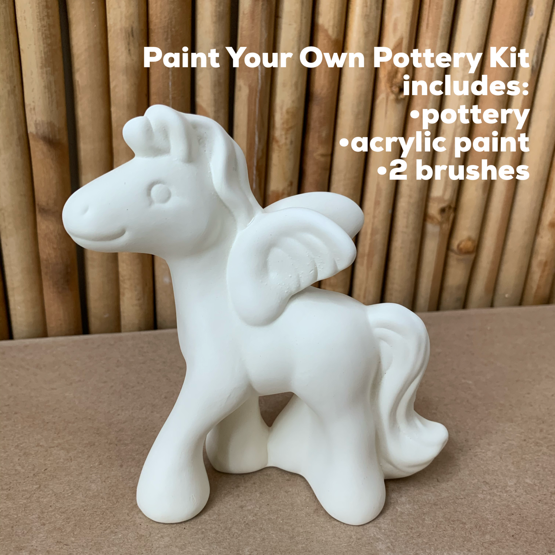NO FIRE Paint Your Own Pottery Kit -  Ceramic Pegasus Unicorn Figurine Acrylic Painting Kit