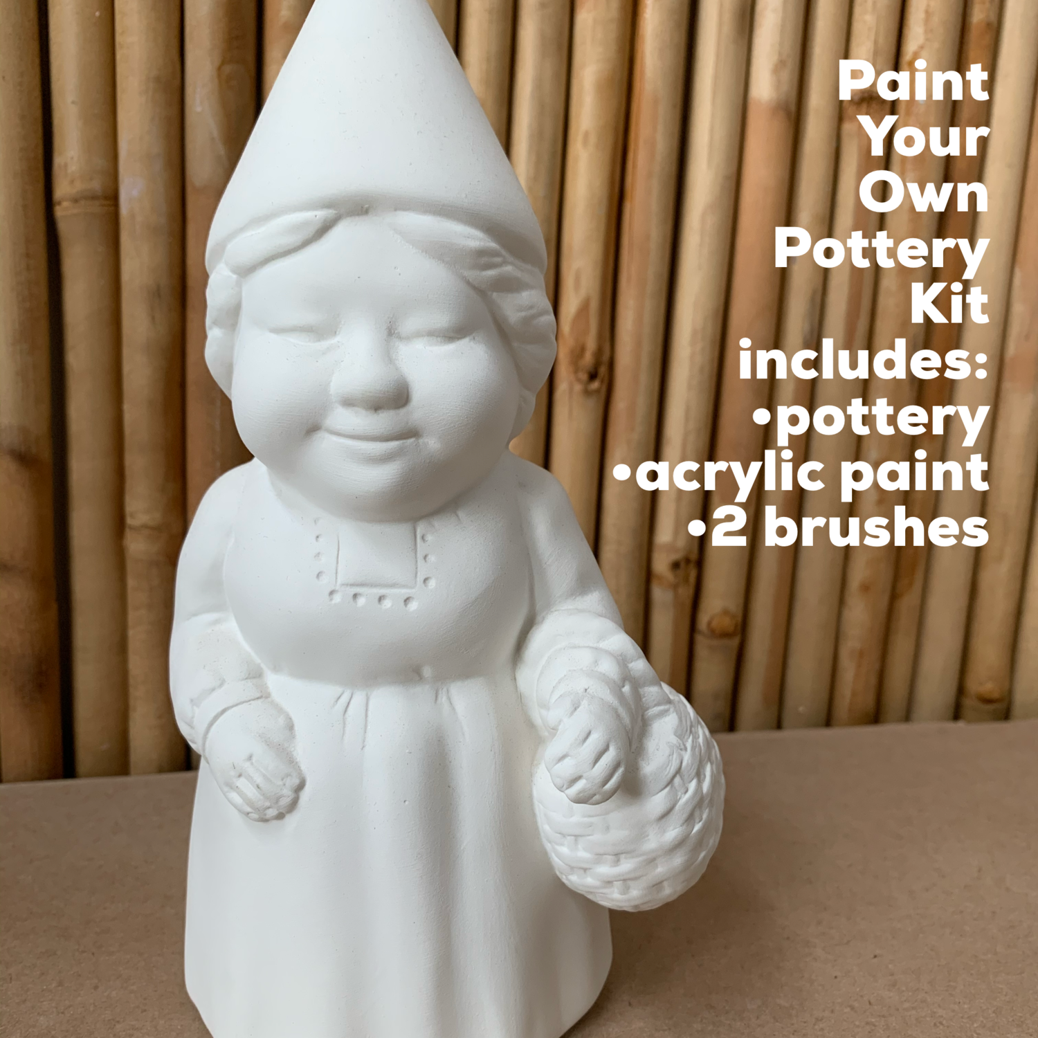 NO FIRE Paint Your Own Pottery Kit -  Ceramic Ms. Gnome Figurine Acrylic Painting Kit