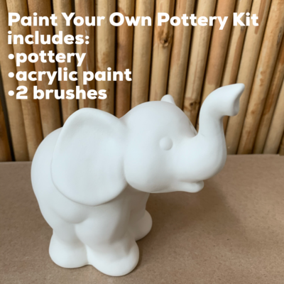 NO FIRE Paint Your Own Pottery Kit -  Ceramic Elephant Figurine Acrylic Painting Kit