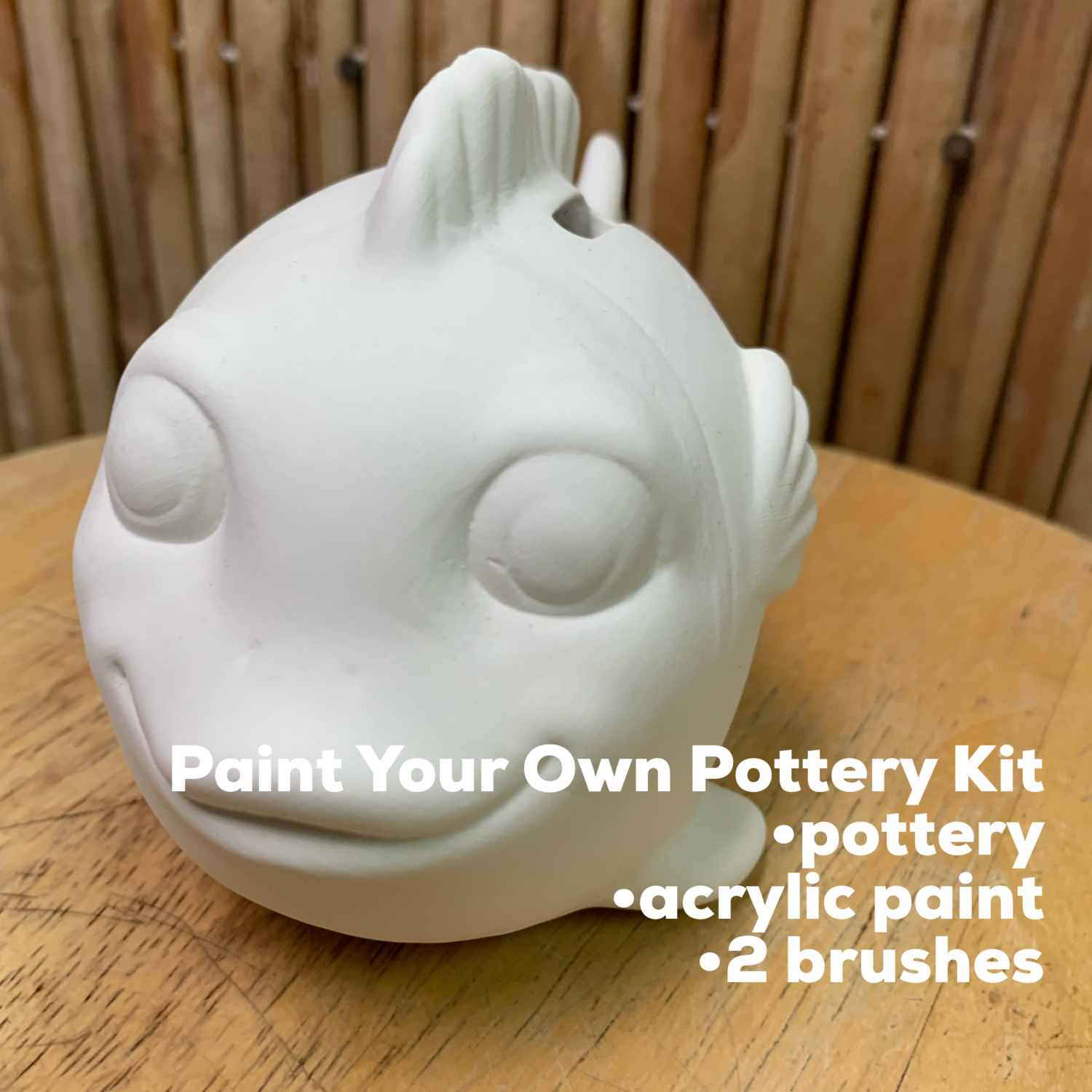 NO FIRE Paint Your Own Pottery Kit -  Ceramic Fish Bank Acrylic Painting Kit