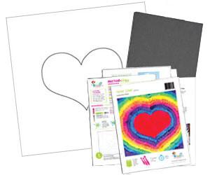 Neon Hearts Acrylic Paint On Canvas Kit