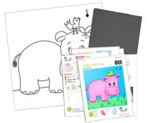 Happy Hippo Acrylic Paint On Canvas Kit
