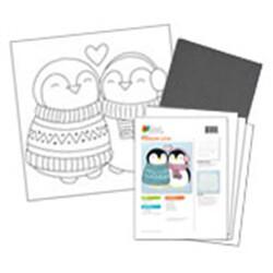 Penguin Love Acrylic Paint On Canvas Kit