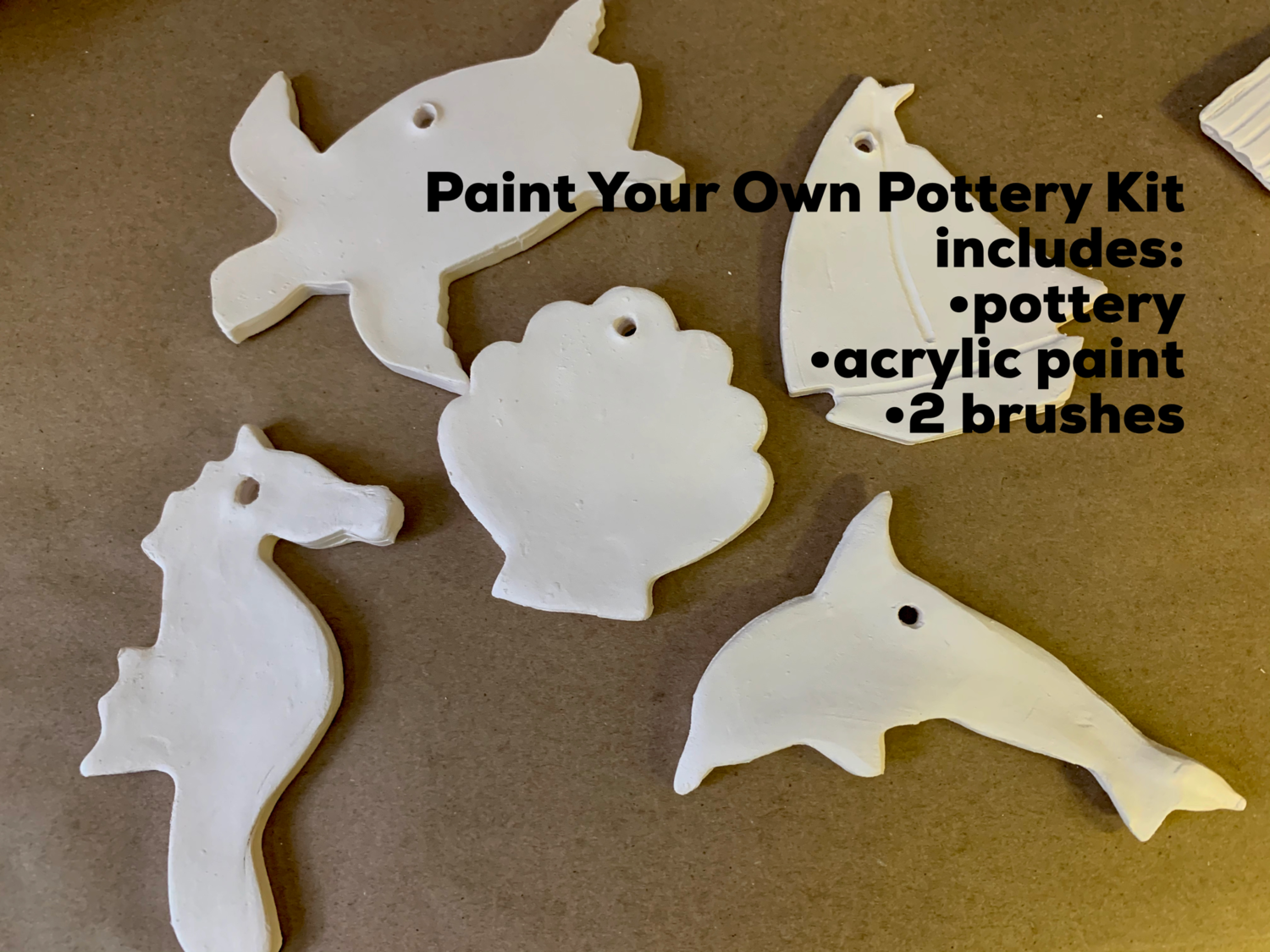 NO FIRE Paint Your Own Pottery Kit -  Ceramic Set of 5 Ocean Christmas Ornaments - Turtle, Seahorse, Dolphin, Sailboat, Scallop Shell - Acrylic Paint Kit