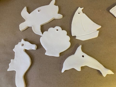 Paint Your Own Pottery - Ceramic   - Set of 5 Ocean Christmas Ornaments - Turtle, Seahorse, Dolphin, Sailboat, Scallop Shell