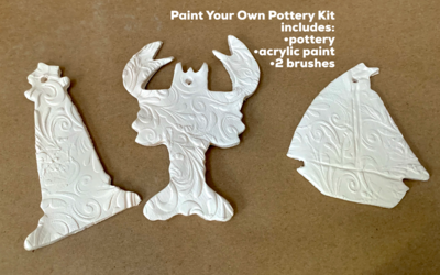 NO FIRE Paint Your Own Pottery Kit -  Ceramic Set of 3 Cape May NJ Christmas Ornaments - Lobster, Sailboat, Lighthouse - Acrylic Paint Kit