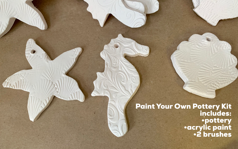 NO FIRE Paint Your Own Pottery Kit -  Ceramic Set of 3 Stone Harbor NJ Christmas Ornaments - Starfish, Seahorse, Scallop Shell - Acrylic Paint Kit