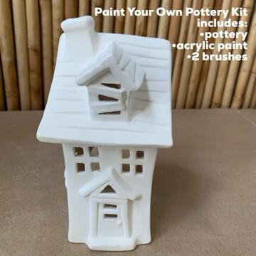 NO FIRE Paint Your Own Pottery Kit -  Ceramic Halloween Haunted House Luminary Lantern Acrylic Painting Kit