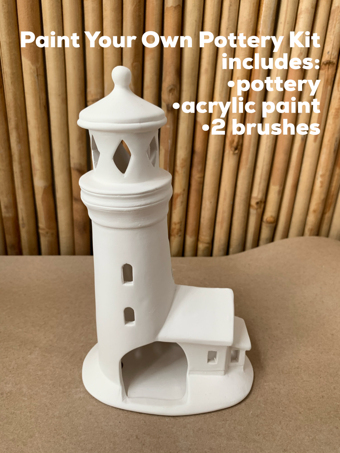 NO FIRE Paint Your Own Pottery Kit -  Ceramic Lighthouse Luminary Lantern Acrylic Painting Kit