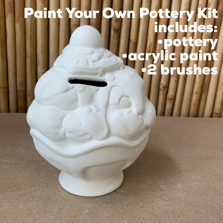 NO FIRE Paint Your Own Pottery Kit -  Ceramic Ice Cream Sundae Bank Acrylic Painting Kit