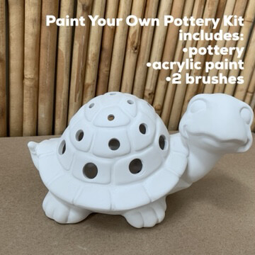 NO FIRE Paint Your Own Pottery Kit -  Ceramic Turtle Luminary Lantern Acrylic Painting Kit