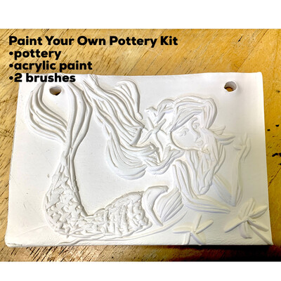 NO FIRE Paint Your Own Pottery Kit -  Ceramic Mermaid Tile  Acrylic Painting Kit